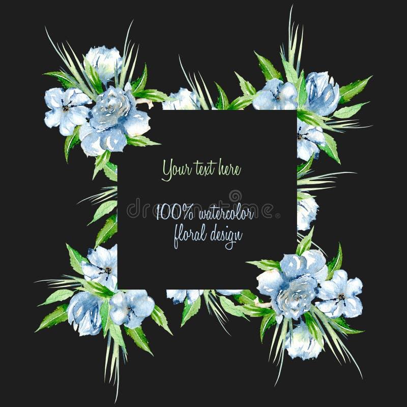 Capítulo la frontera con las rosas azules de la acuarela simple y los wildflowers, ponen verde las hojas y la hierba frescas ilustración del vector