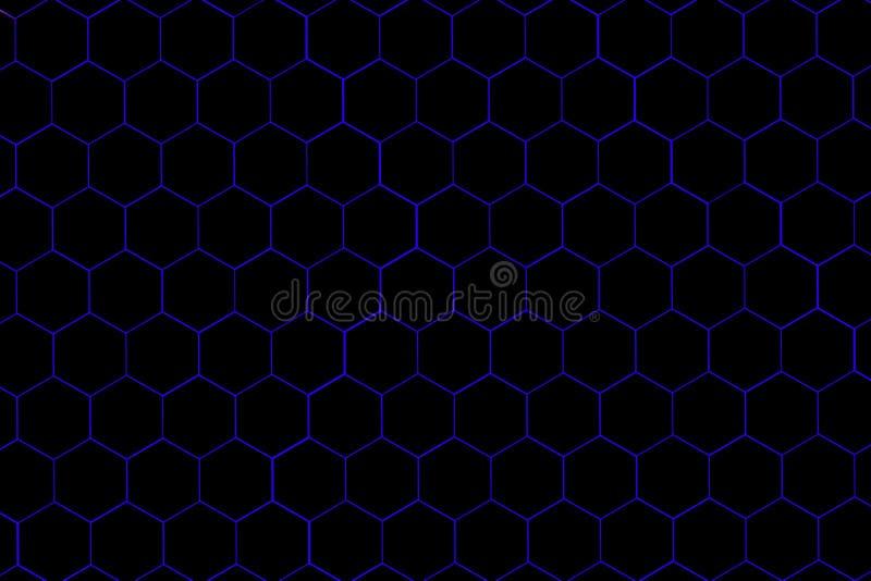 Capítulo llenado de hexágonos negros en un fondo azul claro ilustración del vector