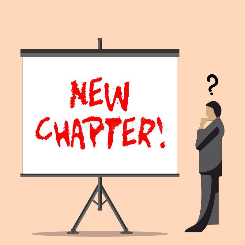 Capítulo novo do texto da escrita da palavra Conceito do negócio para começar finalmente algo objetivos criados em seu homem de n ilustração royalty free