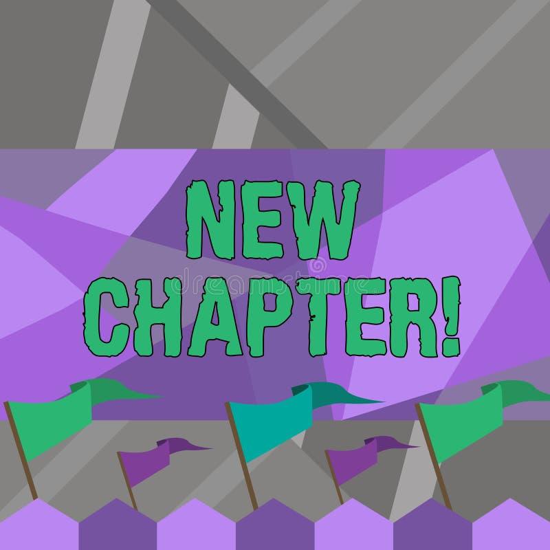Capítulo novo do texto da escrita da palavra Conceito do negócio para começar finalmente algo objetivos criados em seu sólido da  ilustração stock