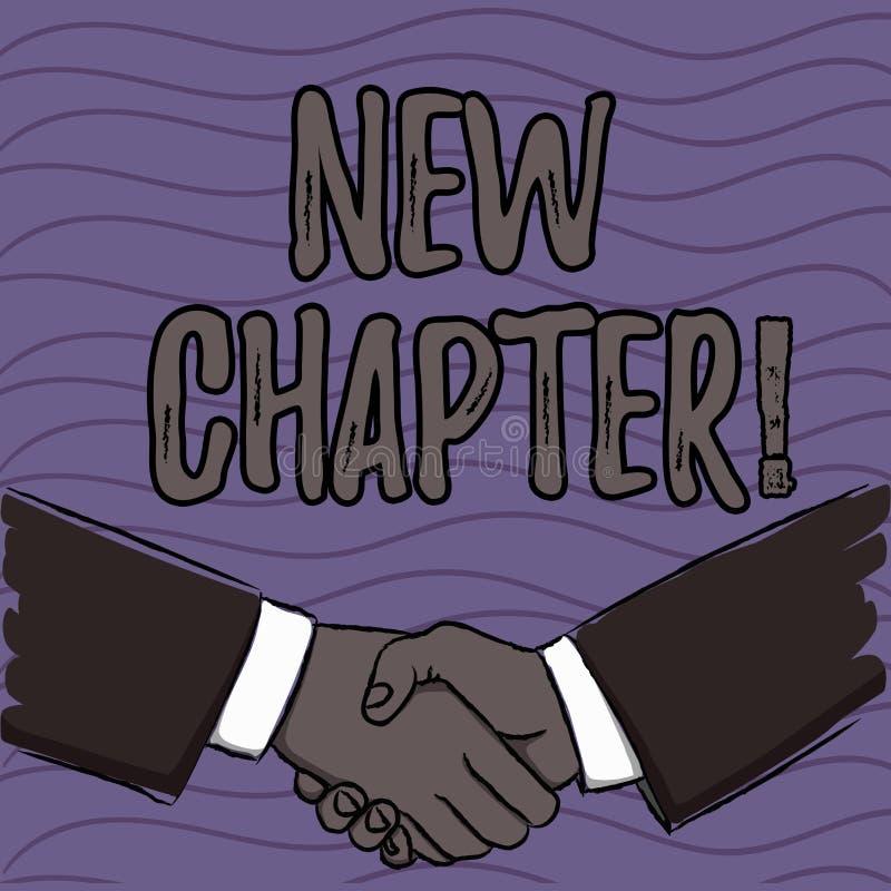 Capítulo novo do texto da escrita da palavra Conceito do negócio para começar finalmente algo objetivos criados em seus homens de ilustração do vetor