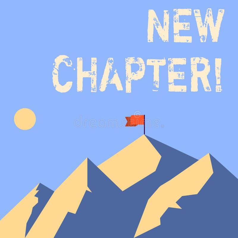 Capítulo novo do texto da escrita da palavra Conceito do negócio para começar finalmente algo objetivos criados em suas montanhas ilustração stock