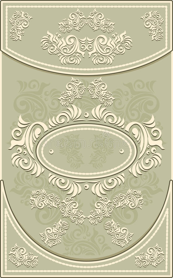 Capítulo o etiqueta del vintage con el fondo floral en o libre illustration