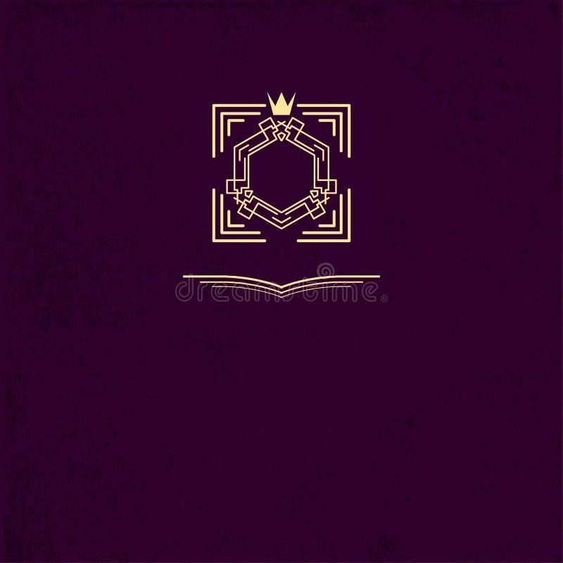 Capítulo o monograma con la corona Plantillas del diseño de los logotipos del vintage Muestra del negocio para el club, café, res libre illustration