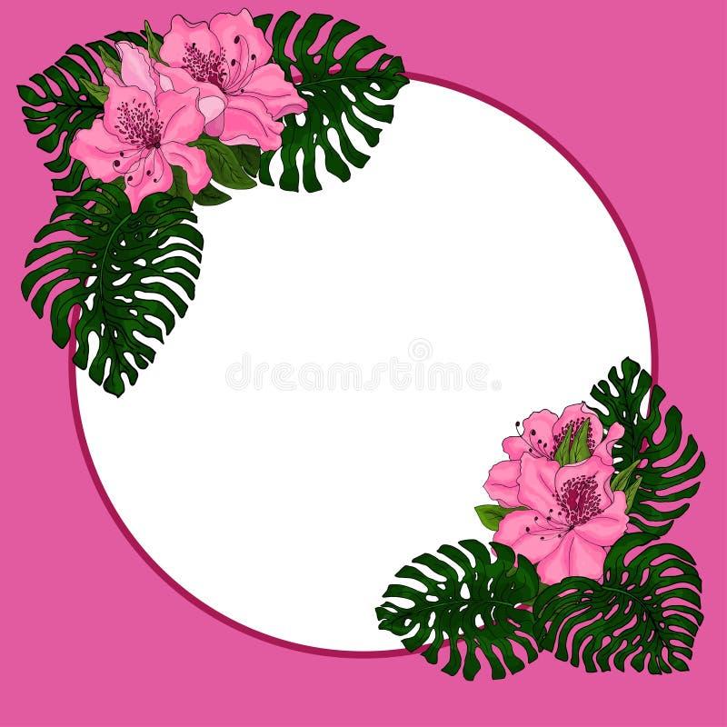 Capítulo para el texto de las hojas exóticas, verdes del monstera y de las flores del rosa de la azalea Idea para el cartel, tarj libre illustration
