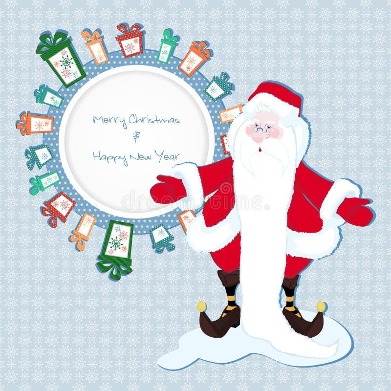 Capítulo para el texto en los regalos con Santa Claus stock de ilustración