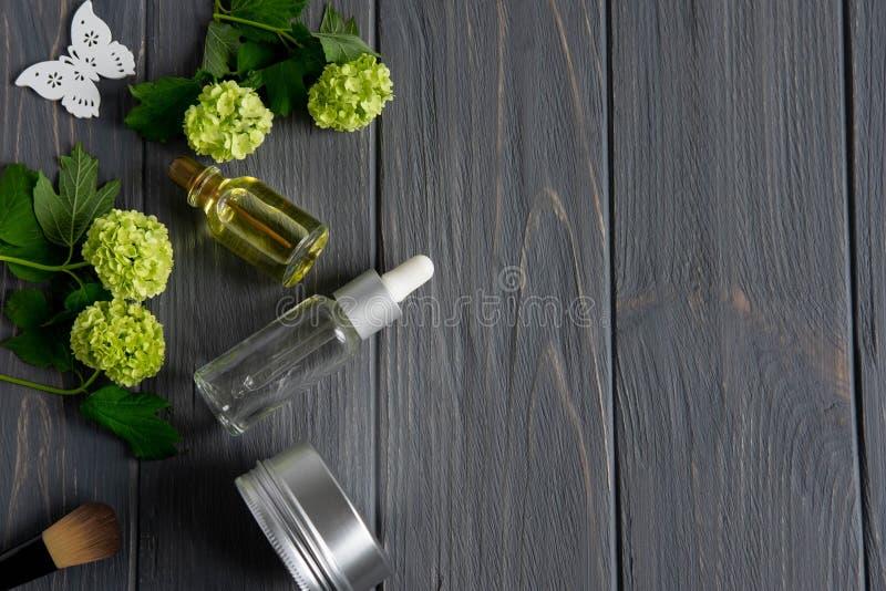 Capítulo para el texto en un tema de la cosmetología Crema de cara, máscara, cepillo cosmético, aceite aromático del masaje, baño imagen de archivo