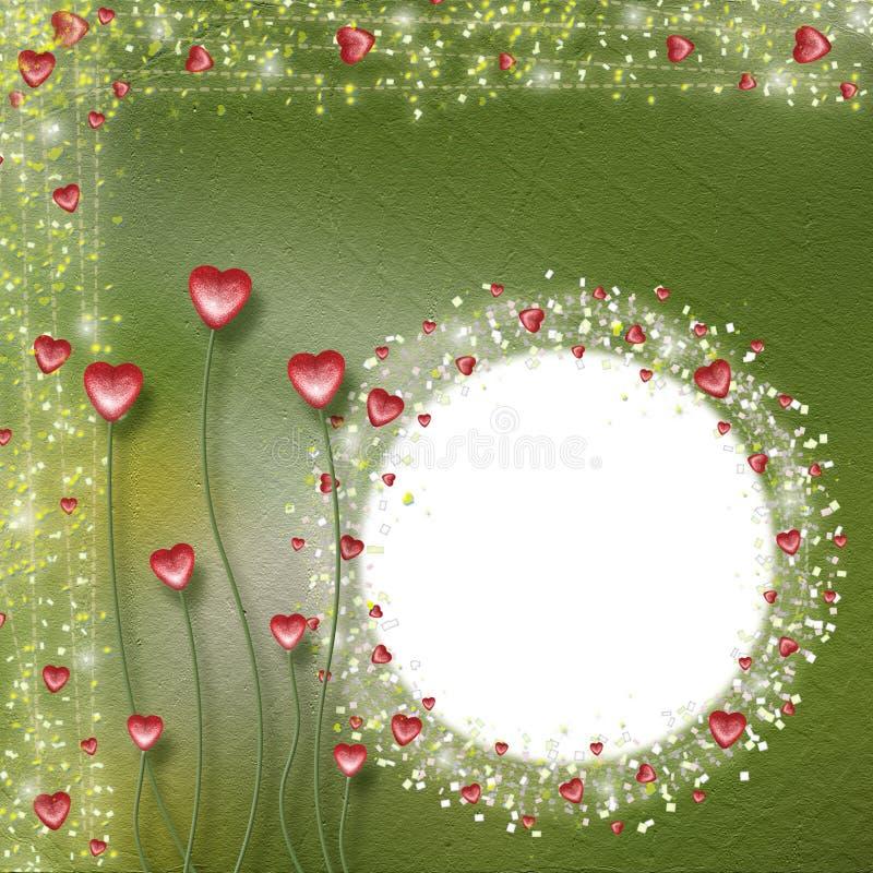 Capítulo para las fotos con los corazones stock de ilustración