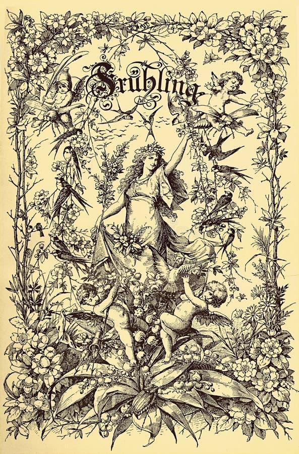 Capítulo, primavera e floral do frontispício do vintage ilustração stock