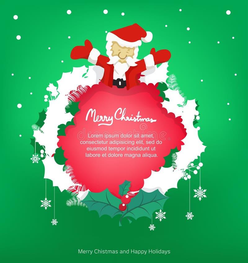 Capítulo santa y hoja para la Navidad, espacio de la copia, vector stock de ilustración