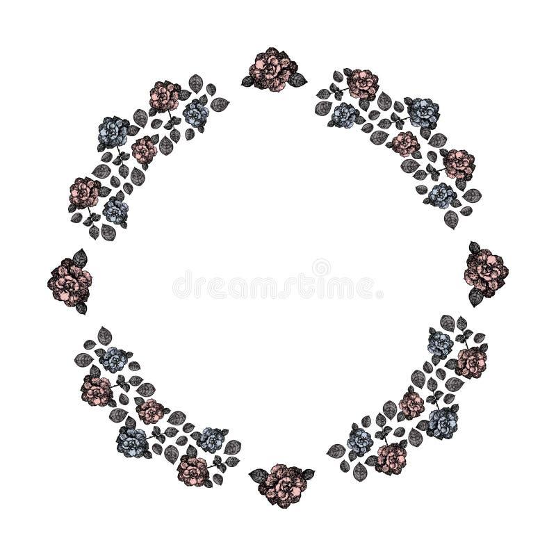 Capítulo Un círculo de rosas y de hojas azules y rosadas del gris Vector libre illustration