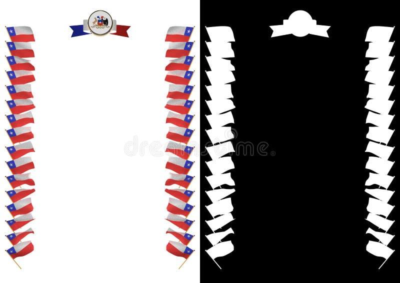 Capítulo y frontera con la bandera y el escudo de armas Chile ilustración 3D stock de ilustración