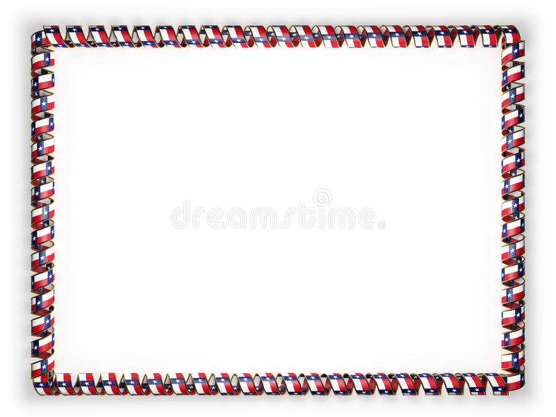 Capítulo y frontera de la cinta con la bandera de Tejas del estado, los E.E.U.U., afilando de la cuerda de oro ilustración 3D ilustración del vector
