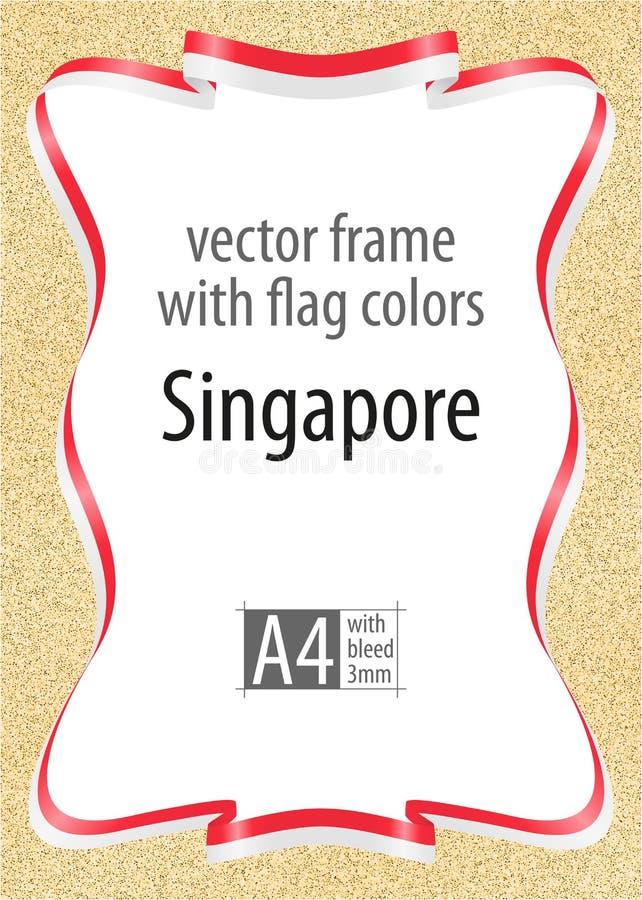 Capítulo y frontera de la cinta con los colores de la bandera de Singapur, los elementos de la plantilla para su certificado y el stock de ilustración
