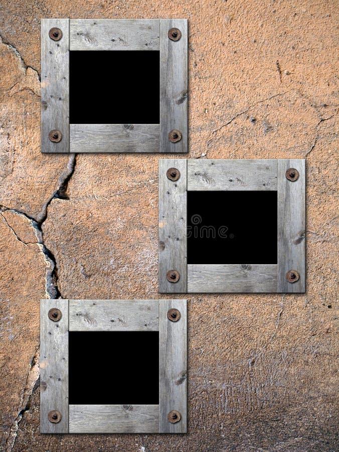 Capítulos de la foto en la pared vieja. ilustración del vector