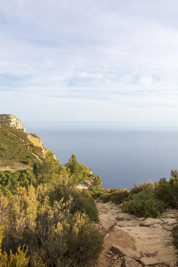 Cap Canaille cliff overlooking the Mediterranean Sea blue waters between the towns Cassis and La Ciotat royalty free stock photos