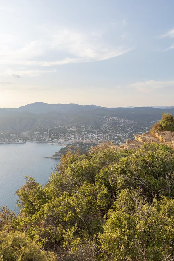Cap Canaille cliffs overlooking Gulf of Cassis at Mediterranean Sea coast of French riviera at sunset light royalty free stock images