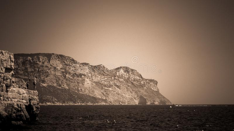Cap Canaille near Cassis in a summer day. Cote d`Azur French Riviera is situated in the southern eastern part of the mediterranean coast of France and it is royalty free stock photos