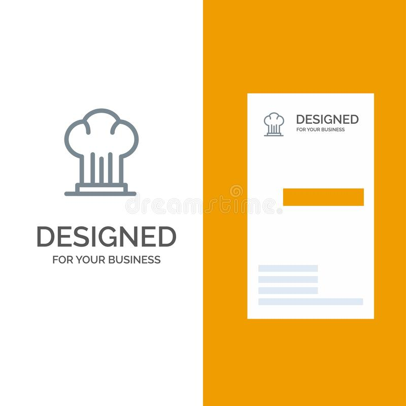 Cap, Chef, Cooker, Hat, Restaurant Grey Logo Design and Business Card Template royalty free illustration
