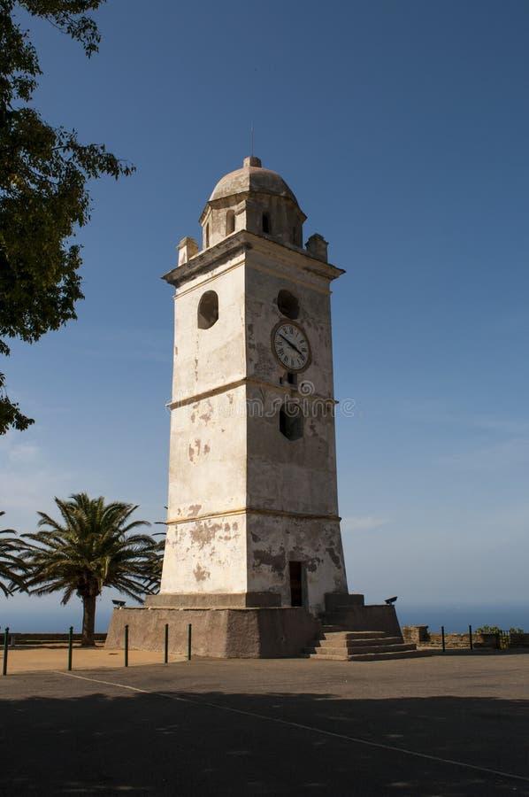 Canari, Haute Corse, Cape Corse, Corsica, Upper Corsica, France, Europe, island. Cap Corse, Corsica, 28/08/2017: the white bell tower in Canari, a former royalty free stock photos