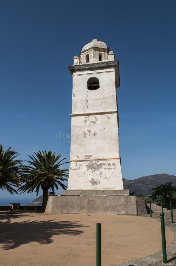 Canari, Haute Corse, Cape Corse, Corsica, Upper Corsica, France, Europe, island. Cap Corse, Corsica, 28/08/2017: the white bell tower in Canari, a former stock photography