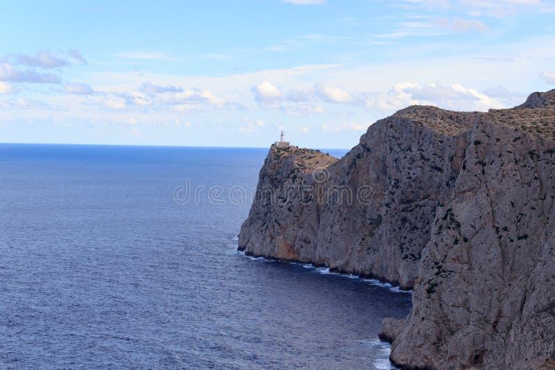 Cap de Formentor Lighthouse和峭壁沿岸航行与地中海,马略卡 库存照片