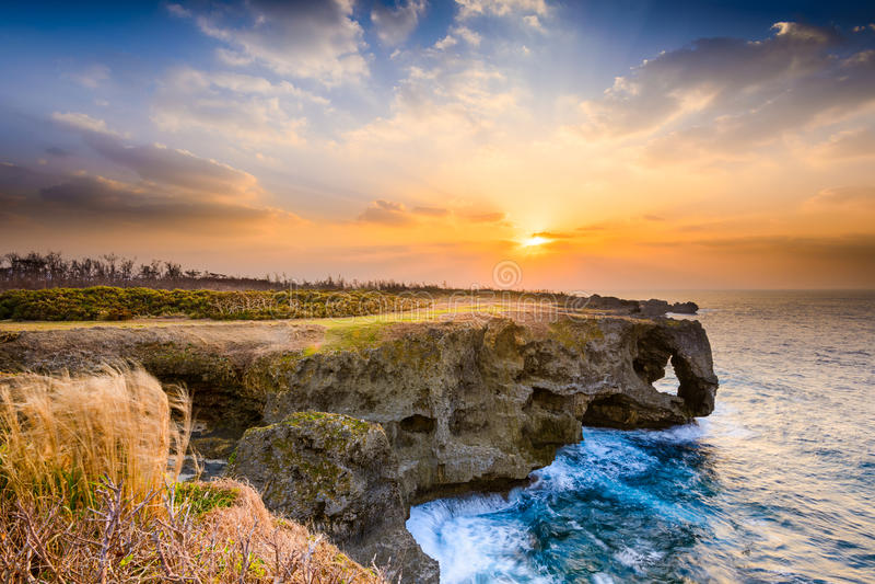 Cap de Manzamo de l'Okinawa images stock