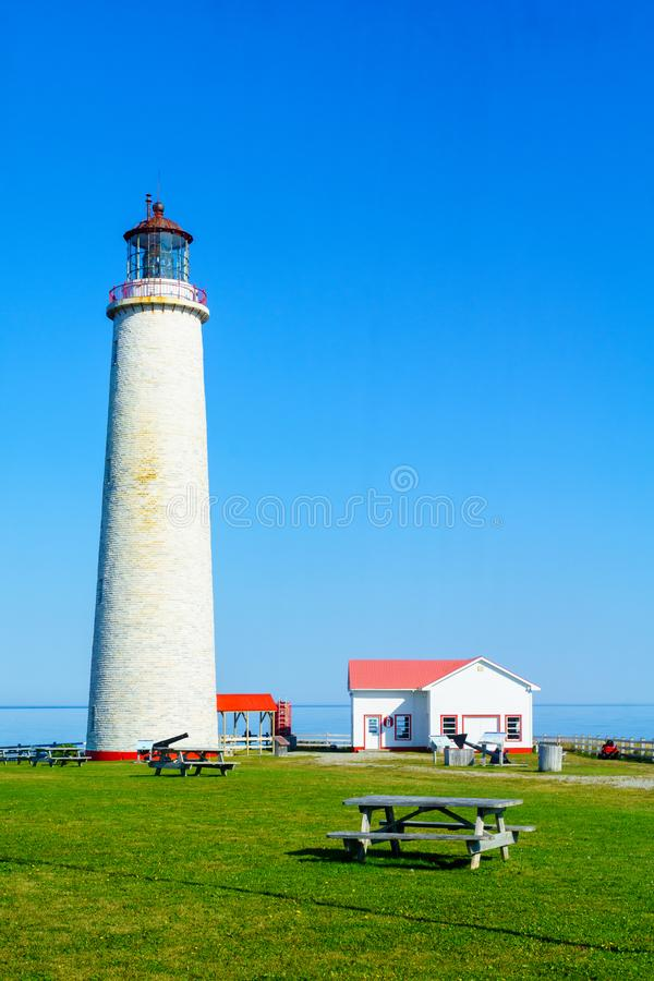 Cap-des-Rosiers Lighthouse, Gaspe Peninsula. View of the Cap-des-Rosiers Lighthouse, Gaspe Peninsula, Quebec, Canada stock photo