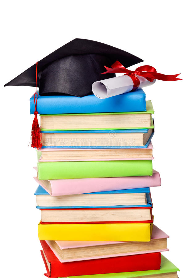 Download Cap And Diploma On Top Of Stack Of Books Stock Image - Image: 24694861