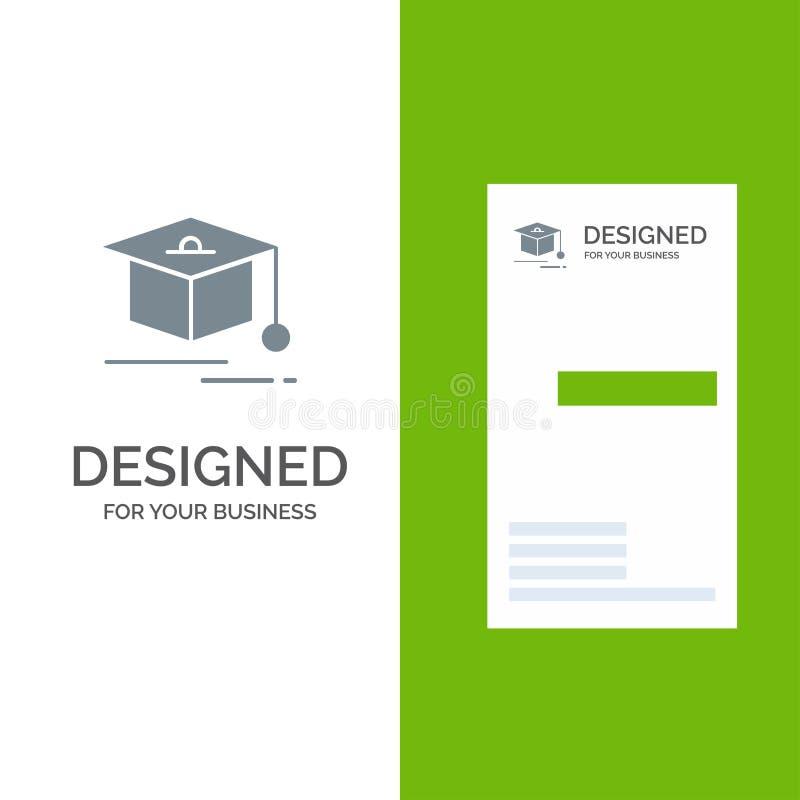 Cap, Education, Graduation Grey Logo Design and Business Card Template vector illustration