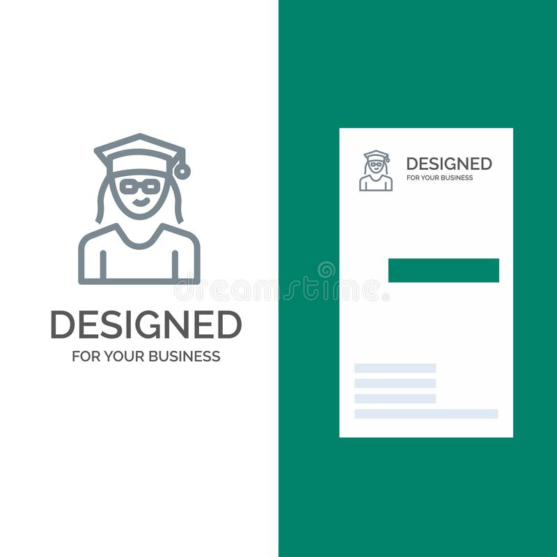 Cap, Education, Graduation, Woman Grey Logo Design and Business Card Template royalty free illustration