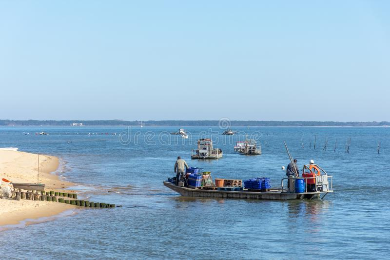 Cap Ferret, baie d'Arcachon, France Agriculteurs d'huître au travail images stock