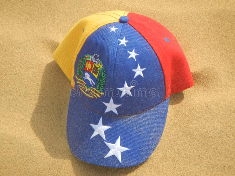 Cap with the Flag of Venezuela in the Médanos de Coro. In the Falcón State in the north-western part of the country royalty free stock photo