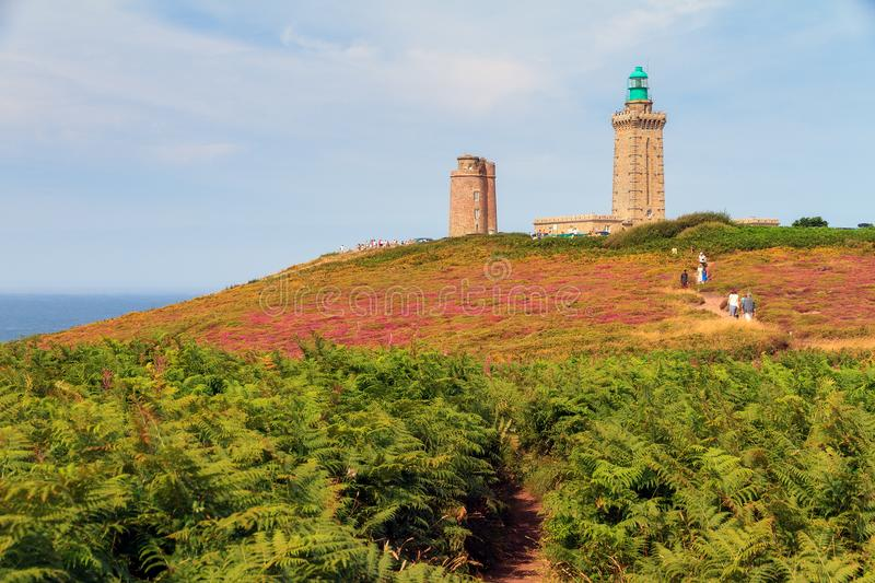 Cap Fréhel fern landscape. Beautiful landscape view of Cap Fréhel in Brittany, France, with its lighthouses and moorland with ferns, vibrant heather stock images