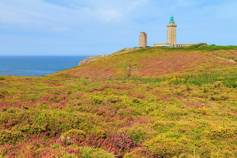Cap Fréhel moorland in summer. Beautiful landscape view of the cliffs at Cap Fréhel in Brittany, France, with its lighthouses and moorland with vibrant stock photos