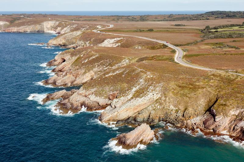 Cap Frehel coast, aerial view of Brittany region in France. Aerial view of the Cap Frehel coast,  in Brittany region, France stock image