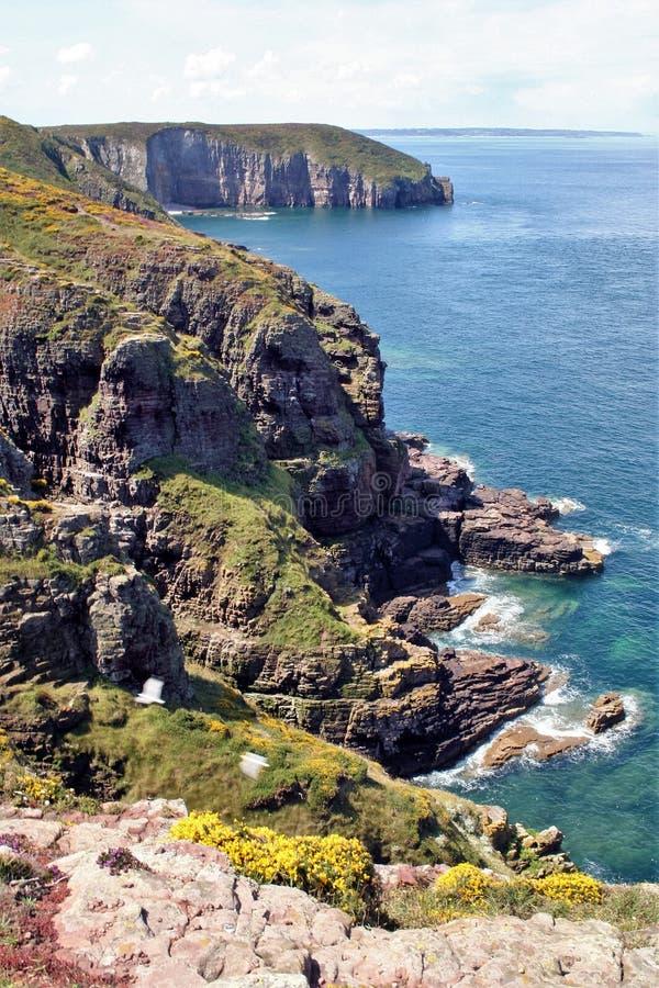 Cap Frehel, France. Landscape of the coast of Brittany , Cap Frehel, France stock photography