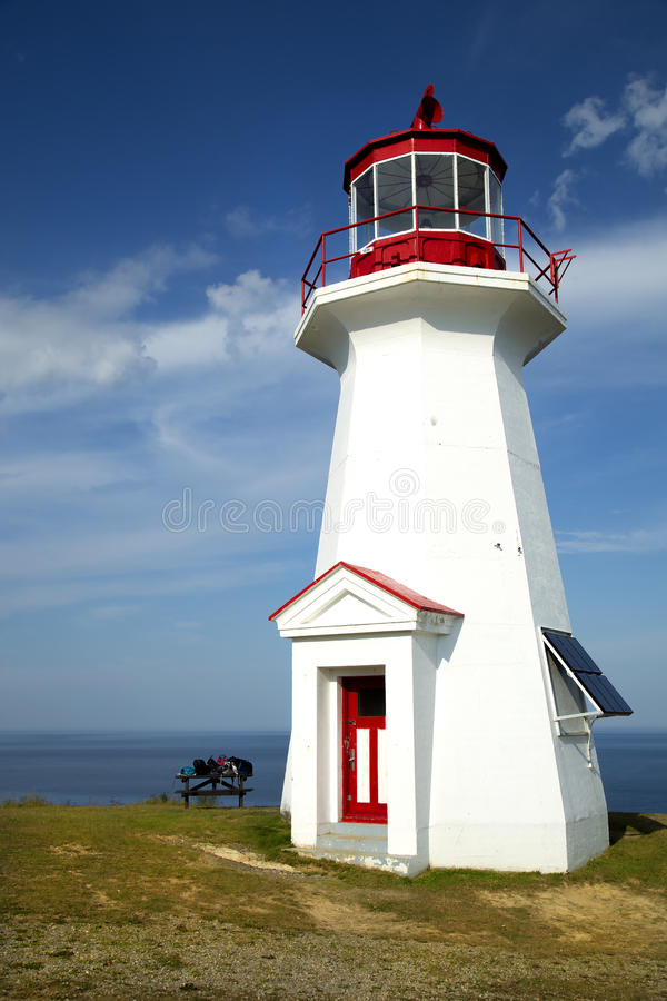 Cap gaspe lighthouse in Gaspesie, Quebec. The red and white Cap Gaspe lighthouse in Gaspesie, Quebec, Canada during summer season royalty free stock images