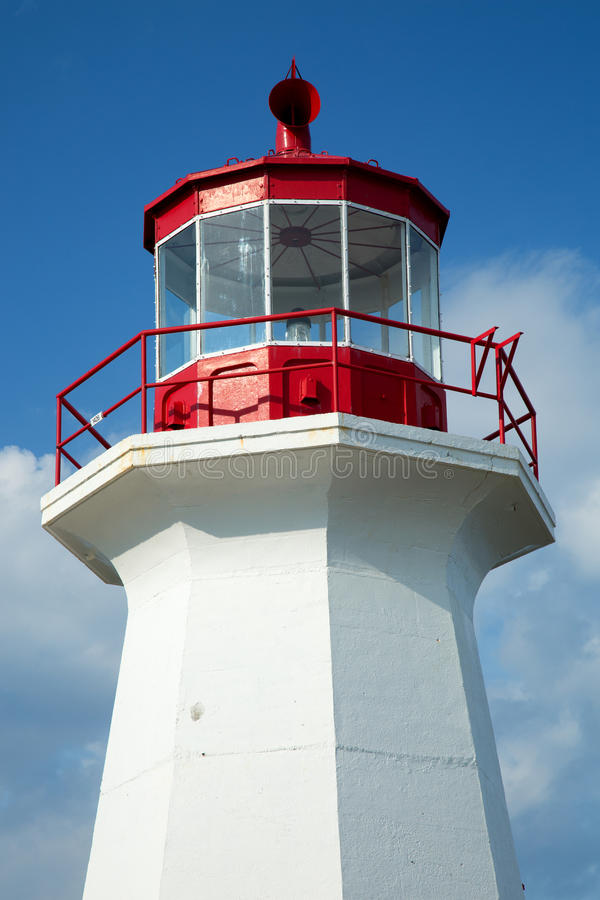 Cap gaspe lighthouse in Gaspesie, Quebec. The red and white Cap Gaspe lighthouse in Gaspesie, Quebec, Canada during summer season stock image