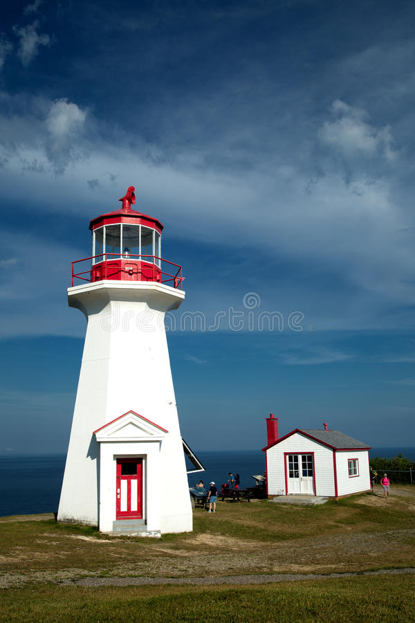 Cap gaspe lighthouse in Gaspesie, Quebec. The red and white Cap Gaspe lighthouse in Gaspesie, Quebec, Canada during summer season royalty free stock photo