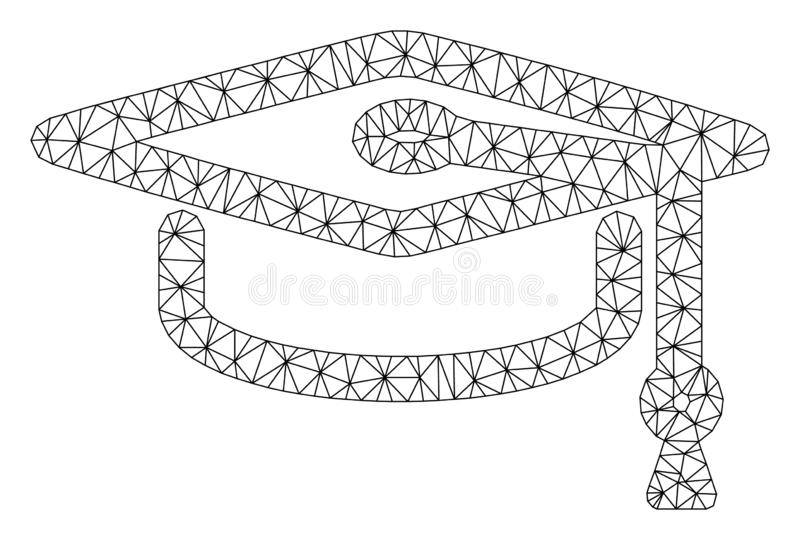 Cap Graduate Polygonal Frame Vector Mesh Illustration royalty free illustration