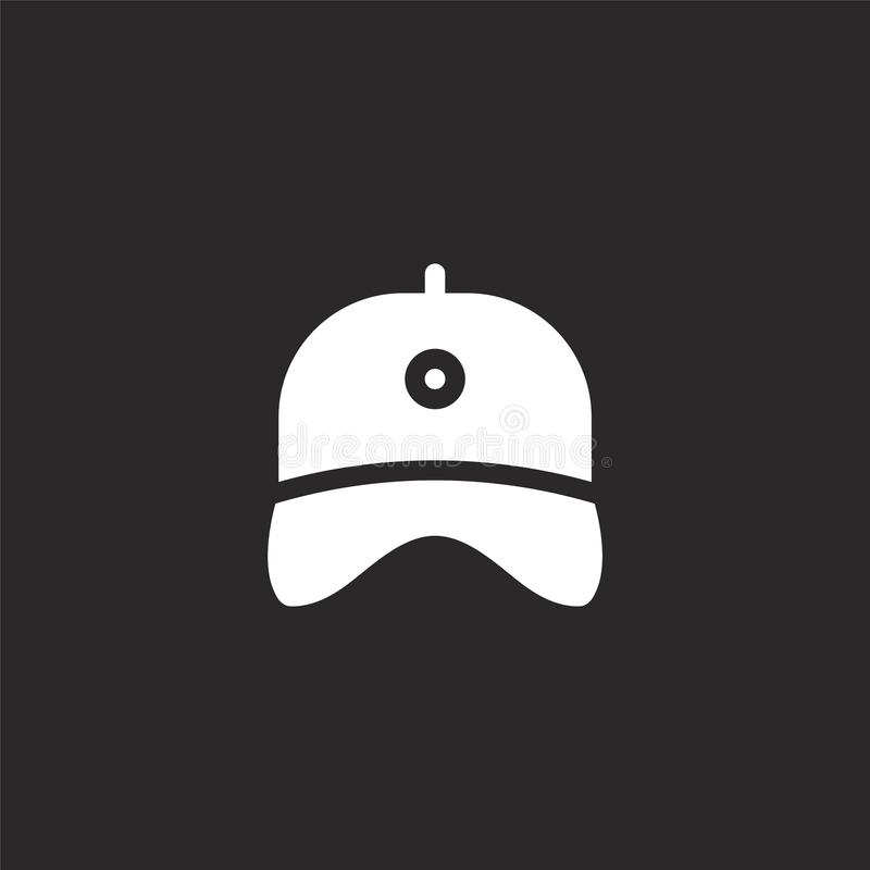 cap icon. Filled cap icon for website design and mobile, app development. cap icon from filled golf collection isolated on black stock illustration