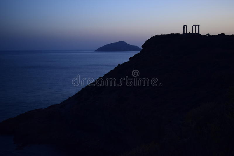 Cap Sounion le temple du grec ancien de Poseidon photographie stock