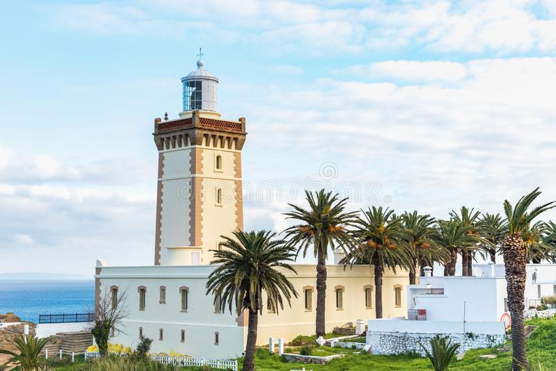 Lighthouse at the cape Spartel in Tangier, Morocco. Cap Spartel Tangier in Morocco royalty free stock image