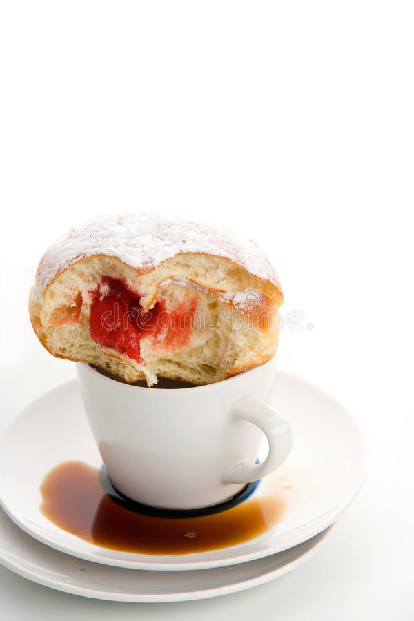 Download Cap And Sugared Donut Wit Bite Out Stock Image - Image: 11020919