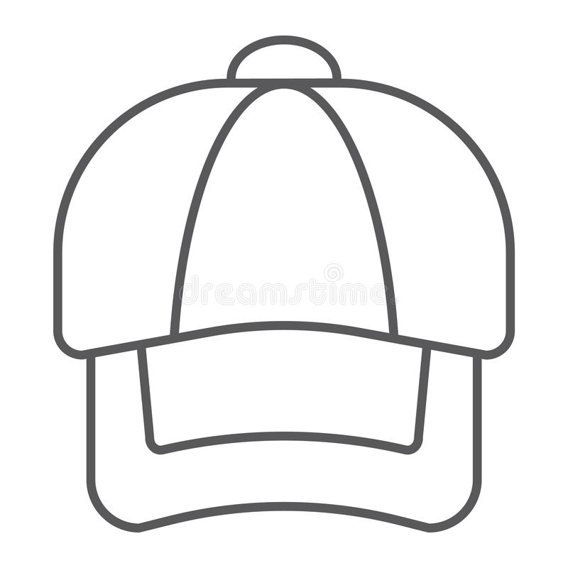 Baseball Cap Outline Silhouette Template Isolated On White