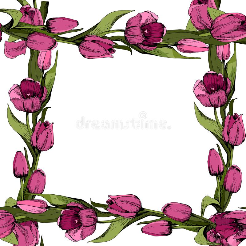 Cap?tulo con los tulipanes rosados coloreados cartel Humor del resorte Ilustraci?n del vector libre illustration
