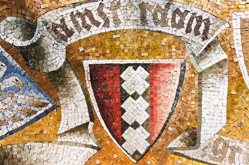 Capa antigua del mosaico de brazos de Amsterdam ilustración del vector