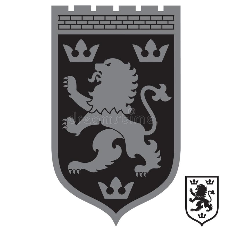 Capa de brazos her?ldica Le?n her?ldico y tres coronas en el escudo de los caballeros libre illustration