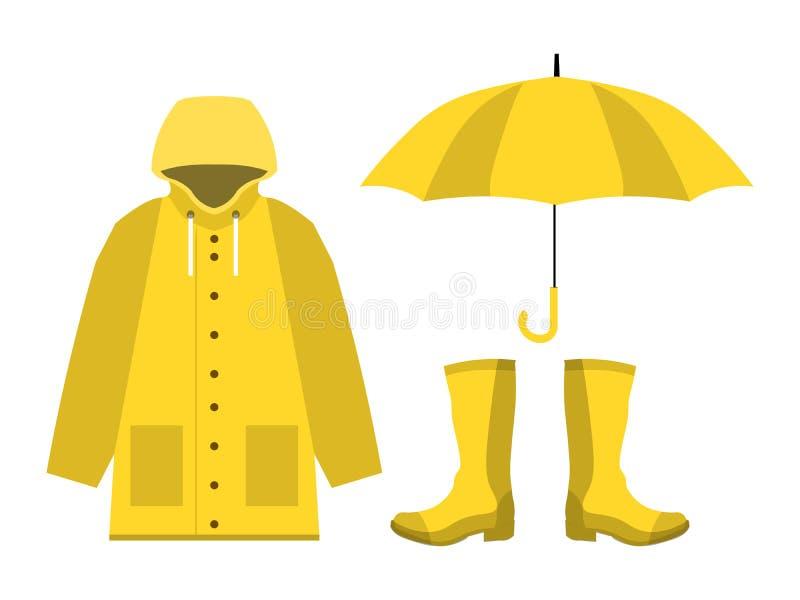 Capa de chuva, botas de borracha, guarda-chuva aberto, grupo de estação das chuvas no plano no vetor branco do projeto do fundo ilustração royalty free